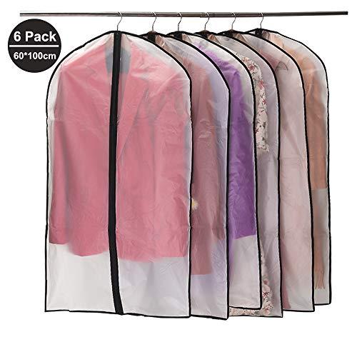 Niviy Kleidersack 6 Stück Hochwertiger Kleidersäcke, Transparent 60x100 cm Atmungsaktiver Stoff, für Anzüge Kleider Mäntel Sakkos Hemden Abendkleider Anzugsack Aufbewahrung