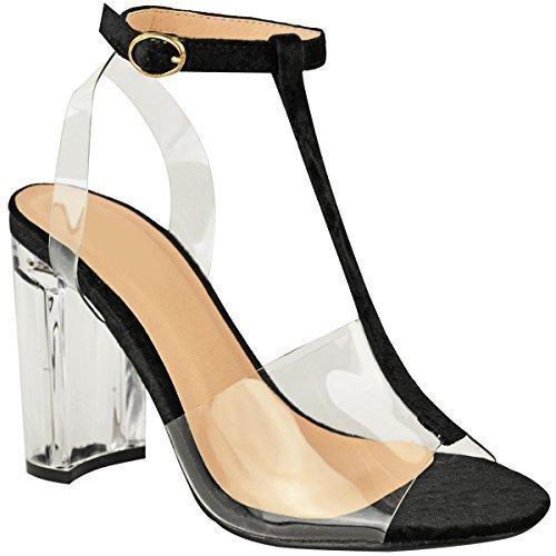 Donna Tacchi Alti Perspex A blocco Trasparente Sandali celebrità Alla caviglia Con bretelline misura UK nero velluto spiegazzato