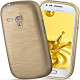 moex Samsung Galaxy S3 Mini | Hülle Silikon Gold Brushed Back-Cover TPU Schutzhülle Ultra-Slim Handyhülle für Samsung Galaxy S3 Mini S III Case Dünn Silikonhülle Rückseite Tasche