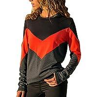 Damen Pullover Sweatshirt,Juliyues Frauen Langarm Color Block Sweatshirts Mit Rundhalsausschnitt Pullover T-Shirt Tops Bluse