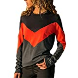 iHENGH Top Damen,Women Herbstliche Fashion Kontrastfarbe O-Hals Lange ÄRmel Bluse T-Shirt Herbstferien Crop Tops Damen Mode