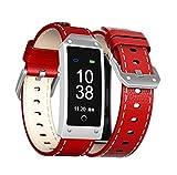 Wj Reloj De Pulsera Inteligente con Bluetooth, Podómetro De Calorías, Sensor De Ritmo Cardíaco Fitness Tracker, Brazalete Sport Smartband para Android iOS, IP67 Impermeable, Marrón,Red