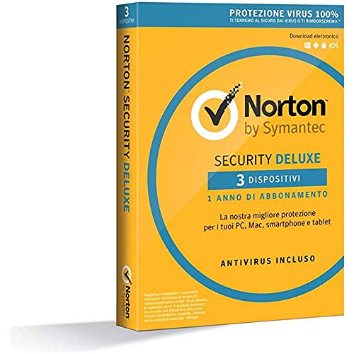 NORTON - Norton Security Deluxe 2018 Licenza per 3 Dispositivi per 1 Anno - Licenza ESD (Electronic Software Distribution)