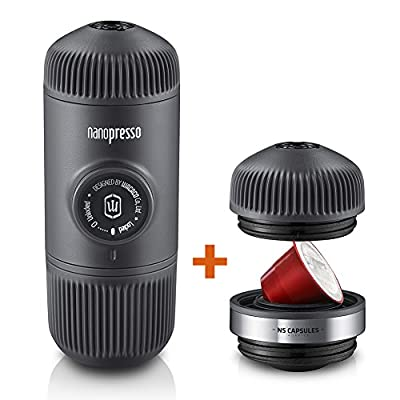 Wacaco Nanopresso Portable Espresso Maker Bundled with NS Adapter, Upgrade Version of Minipresso, Compact Travel Coffee Maker, 18 Bar Pressure, Manually Operated, Perfect for Camping and Adventure
