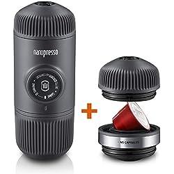 Wacaco Nanopresso Cafetera espresso portátil con Adaptador NS adjunto, versión mejorada de Minipresso, máquina portátil de café para viajes, operada manualmente, perfecta para acampar y aventurarse
