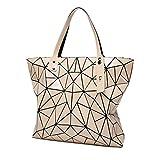 Freizeitreisetasche Persönlichkeit Rhombische Geometrie Tasche Falttasche Stereo Cube Bag Lady Handtasche Schultertasche (Farbe : Pink, größe : 34 * 13 * 32CM)