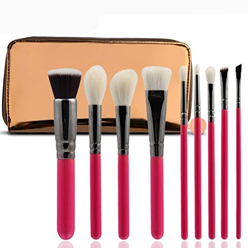 Maquillage Brosse, 9 Pcs / Ensemble de Haute Qualité Laine de Maquillage Brosse Mélange Poudre Fard à Paupières Contour Concealer Beauté Cosmétique Pinceau Jouet Outil Kit ( Color : Rose Red )