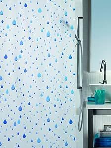 Spirella Rideau de douche PVC opaque Blanc/bleu 180 x 200 cm