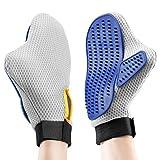 Gant de Toilettage Chien Chat OMorc 2Pcs Brosse de Nettoyage Massage Peigne de Massage pour Animaux (Gris et Bleu)