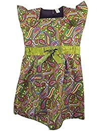 Next Olive Green Cap Sleeve Cotton Dress with Green Satin Banding Paisley Pattern