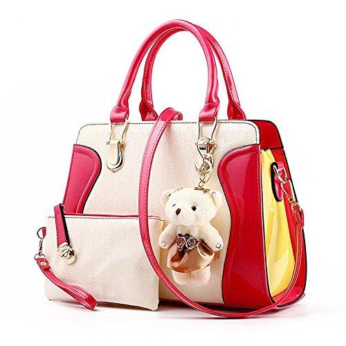 LDMB Damen-handtaschen PU Leder Sweet Lady Zauber Farbe kleine tragen weibliche Schulter Messenger Tasche rose red
