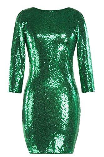 YACUN Le Donne 3 / 4 Manica Lustrini Bodycon Abbigliamento Da Club Mini Abito Da Festa Green
