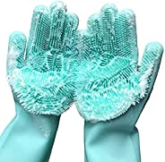 Xectes Silicone Dishwashing Gloves, Xiong Chao Reusable Brush Scrubber Silicone Gloves, Waterproof Heat Resist