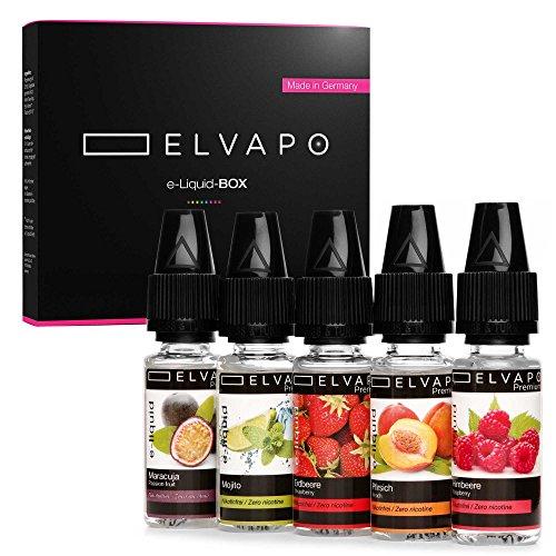 5 x 10ml Elvapo Premium E-LIQUID-BOX | E-Zigaretten/E-Shisha Liquids Set ohne Nikotin | Erdbeere, Mojito, Pfirsich, Maracuja, Himbeere | Probierset 0,0 mg (nikotinfrei) | Made in Germany!