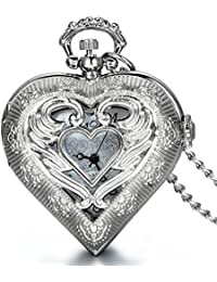 JewelryWe Newest Vintage Silver Tone Heart Locket Style Pendant Pocket Watch Necklace Valentine Gift for Girls Lady Women, 30 Inch Chain (with Gift Bag)