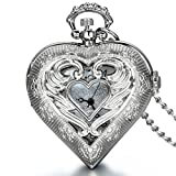 JewelryWe Newest Vintage Silver Tone Heart Locket Style Pendant Pocket Watch Necklace for Girls Lady Women, 30 Inch Chain (with Gift Bag)  - 51Lp3WjJuiL - JewelryWe Newest Vintage Silver Tone Heart Locket Style Pendant Pocket Watch Necklace for Girls Lady Women, 30 Inch Chain (with Gift Bag)