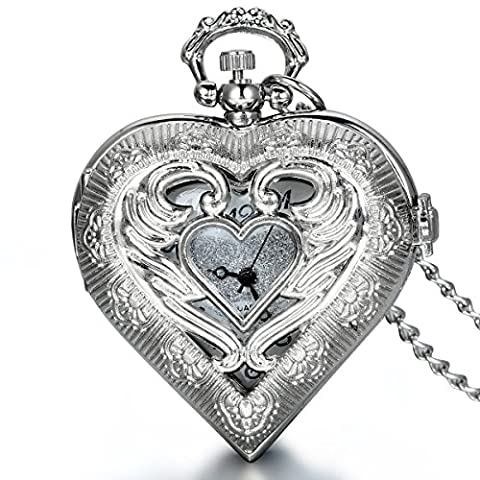 JewelryWe Newest Vintage Silver Tone Heart Locket Style Pendant Pocket Watch Necklace for Girls Lady Women, 30 Inch Chain (with Gift Bag)
