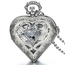 JewelryWe Vintage Silver Tone Heart Locket Style Pendant Pocket Watch Necklace for Girls Lady Women, 30 Inch Chain