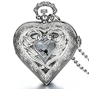JewelryWe Herren Damen Taschenuhr, Exquisite Engelsflügel Love Herz Uhr Anhänger Analog Quarz Kettenuhr Pullover Halskette Kette mit Digital Zifferblatt