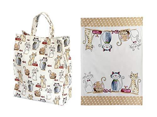 SPOTTED DOG GIFT COMPANY 2er Geschenkeset, Geschirrtücher und Reisenthel Shopper Einkaufstasche faltbar, niedliches Katzen-Motiv, Geschenk für Frauen Katzenliebhaber
