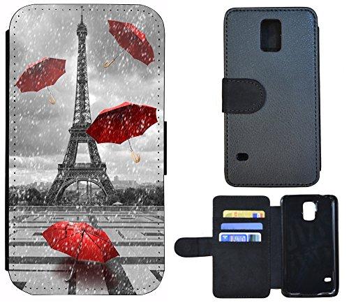Schutz Hülle Flip Cover Handy Tasche Etui Case für (Apple iPhone 4 / 4s, 1109 Elfe Cartoon Anime Rosa Blau) 1107 Eifelturm Paris Frankreich Rot Grau
