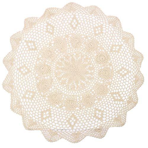 Yizunnu handgefertigt rund beige Baumwolle Crochet Spitze Spitzendeckchen Tischdecke, Durchmesser 73,7cm