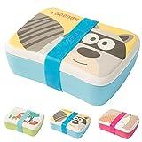 Kaufdichgruen Kinder Bento Lunchbox aus Bambus I Brotdose mit extra Snack Box I Mädchen und Junge Motiv Brotbox – Waschbär für Kindergarten I Lunch Set To Go BPA frei und 100% lebensmittelecht