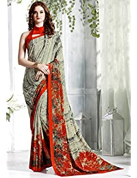Women Mode Cream Color Crepe Fabric Printed Saree With Blouse