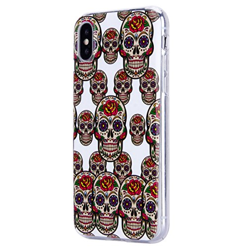 Cover iPhone X, Custodia iPhone X, EUWLY Trasparente TPU Case con Colorate Dipinto Modello Morbida Flessible in Silicone Custodia Cover [Shock-Absorption] [Antigraffio] Protettiva Cover Bumper Ultra S Cranio