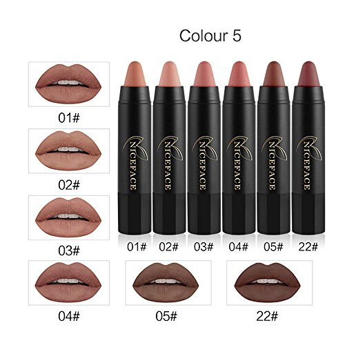 Ensembles de crayon de rouge à lèvres 6PCs, GreatestPAK ensemble de maquillage sexy de crayon de couleur mate de velours longue
