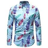 Binggong Herren Shirt, hübsche Junge Männer im Sommer, Geeignet für Mode-Business Casual Brautkleid, Farbe Revers Revers Grundlegende langärmelige Persönlichkeit Männer T-Shirt