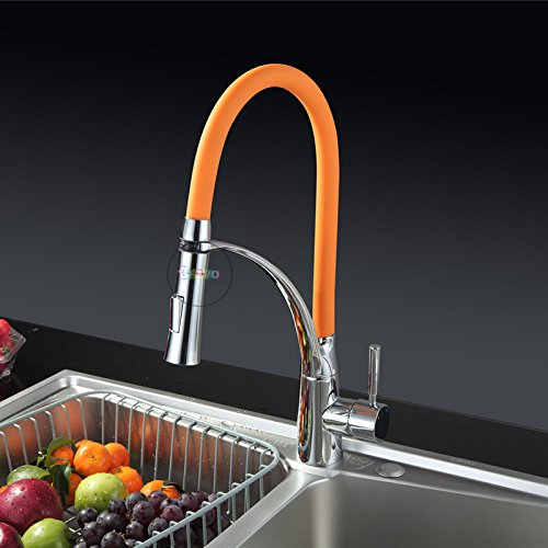 tougmoo Single Handle rubinetto per lavello da cucina.Deck Mounted Nero Cucina rubinetto.Doppio ugello spruzzatore calda fredda miscelatore acqua Rubinetti Orange