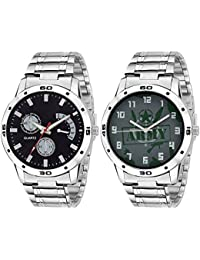 On Time Octus Combo Of 2 Multi Color Dial Analog Metal Strap Watch For Boys And Mens 302-321