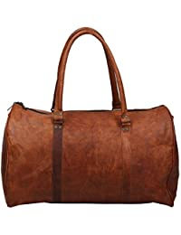 "Handcraft's ""Luskar"" Brown Genuine Leather Vintage Hand Messenger Bag Travel Bag Cargo Duffel Bag 20 Inch"