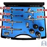 Agora-Tec® Airbrush Pistolen Set AT-AS-01 - 15 tlg. Airbrush-Pistolen-Set mit 6 Pistolen in 4 verschieden Düsengrößen -