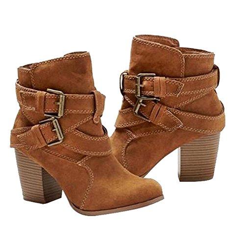Boots Femme Talon Haut Bloc Suédine Boucles Bottes Classiques Chaussure Mode Bottine Chelsea Grande Taille 40 41 42 43
