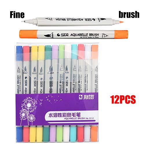 Wasserlöslicher Schreibpinsel mit Zwei Enden in einem Anzug mit 12 Farben