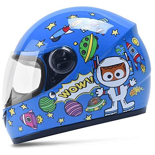 Kinderhelm Elektrisches Motorrad Junge Weibliches Kind Baby Vier Jahreszeiten Cartoon Helm Sommer Half Helm (Color : Blue)