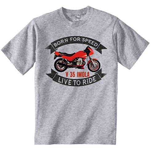 TEESANDENGINES Moto Guzzi V35 Imola Tshirt di Cotone da Uomo Grigio Size L