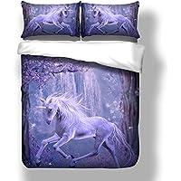 Unicornio Funda Nórdica y Funda Almohada 3D Animales Unicornio Flores Patrones Juego de Ropa de Cama