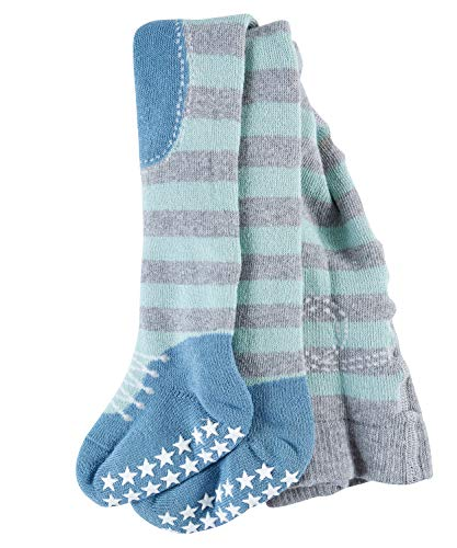 FALKE Baby Jungen Strumpfhosen / Leggings Crawler Boy - 1 Paar, Gr. 74-80, grau, Noppen Sohle, Baumwolle hautfreundlich - Warme Gerippte Strumpfhose