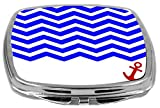 Rikki Knight Compact Mirror, 3 D Chevron Blue On White With Anchor