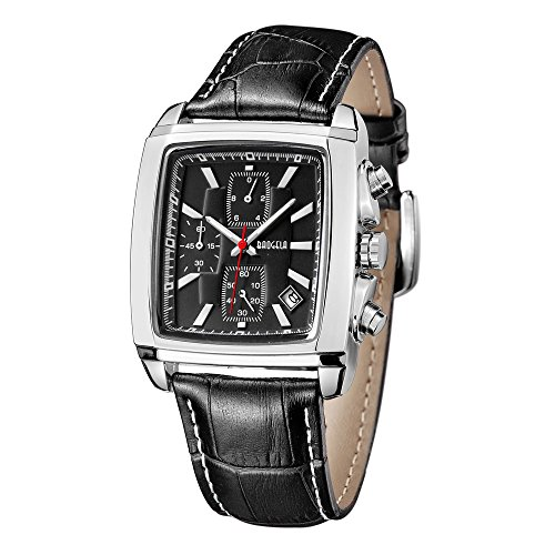 Megir Herren-Armbanduhr Quarzuhr, legeres Lederband Chronograph Analog -