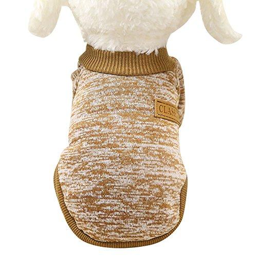 U.Expectating Haustierweste Sweatshirts Haustier Hund Klassische Pullover Kleidung Haustier liefert Winter warme Hundebekleidung (S, Khaki)