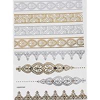 ღ Yh034 Flash Tattoo tatuaje temporal pegatinas etiquetas pulseras de oro joyas de oro etiqueta engomada de la hoja de Metal-metálico del cuerpo