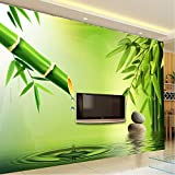 Fushoulu Benutzerdefinierte 3D Wallpaper 3D Stereoskopische Grüne Bambus Wasser Tropfen Hintergrund Wandbilder Für Wohnzimmer Dekoration Tapete-400X280Cm