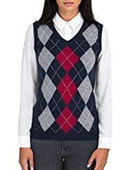 Wool Overs Pull Argyle sans manches Femme