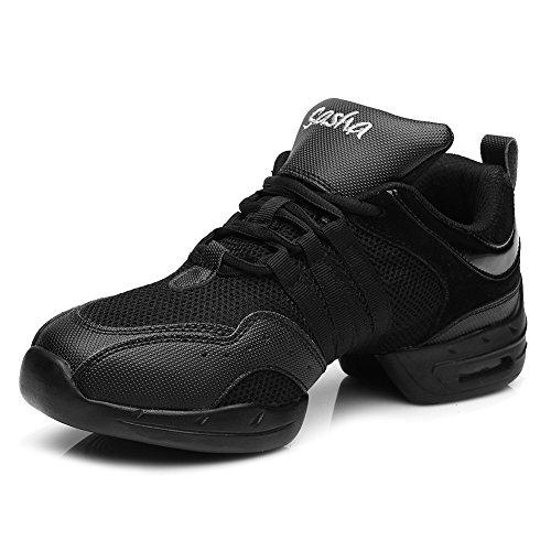 Sneaker Donna/Donne Pelle/Maglie Jazz/Modern Ballo Danza Hip Hop Sport Scarpe da Tennis,Modello-ITB56B,Nero,EU 34