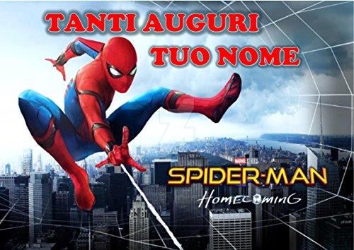 Spiderman Home Coming Herren Spinne Waffel in Ostia für Kuchen personalisierbar-Kit N ° 11cdc- (1Waffel in Ostia Abmessungen Folio A4210× 297mm)