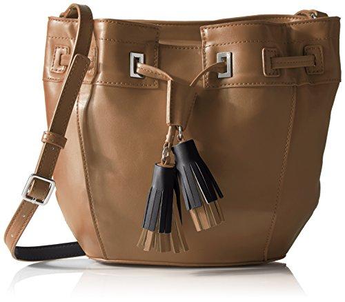 Nine West Take a Lift Crossbody Bucket Bag, Dark Camel/Black (Bag Camel Dark)
